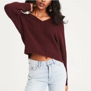 American Eagle Burgundy Knit Crop Sweater